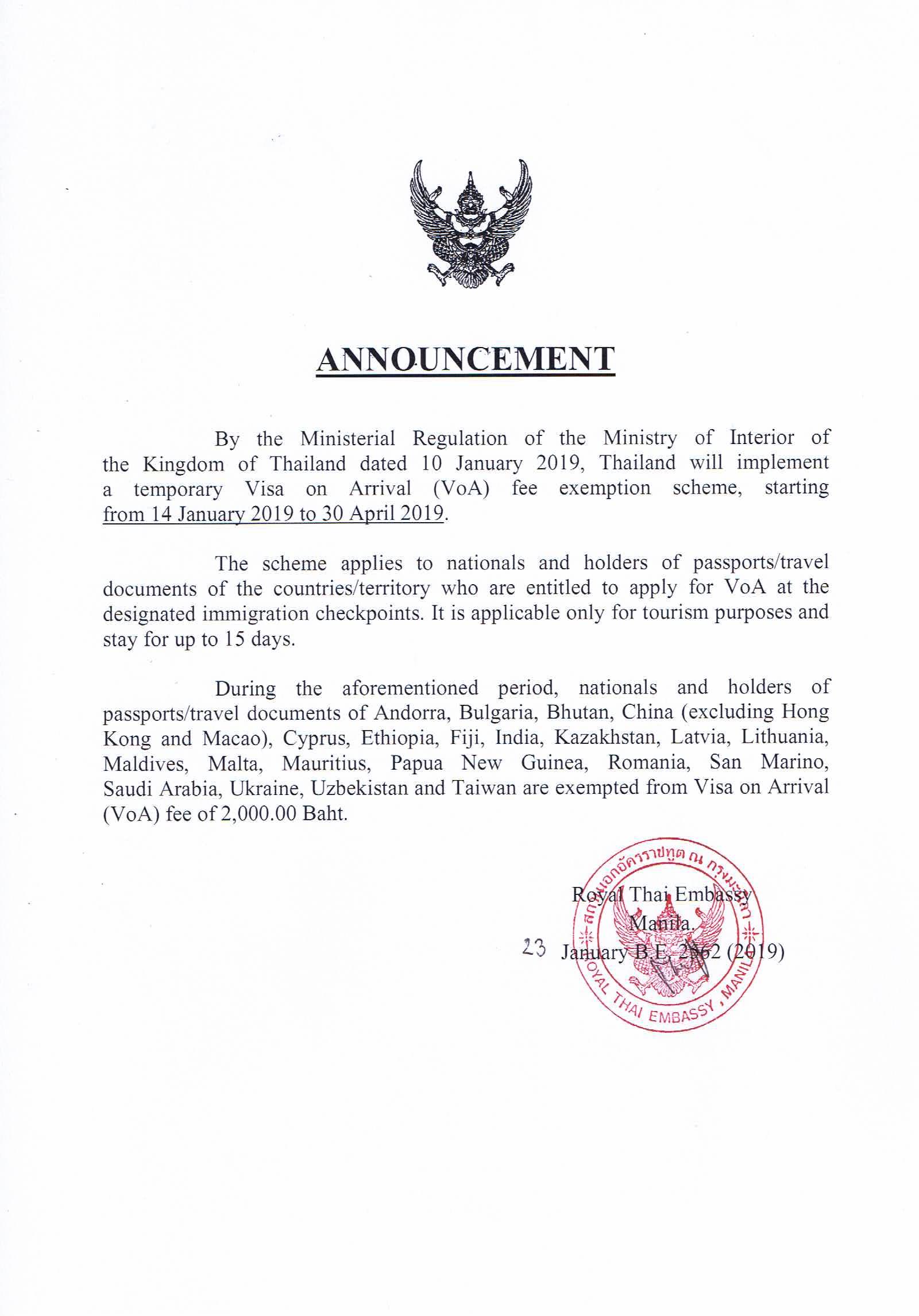 Temporary Visa On Arrival Voa Fee Exemption Scheme