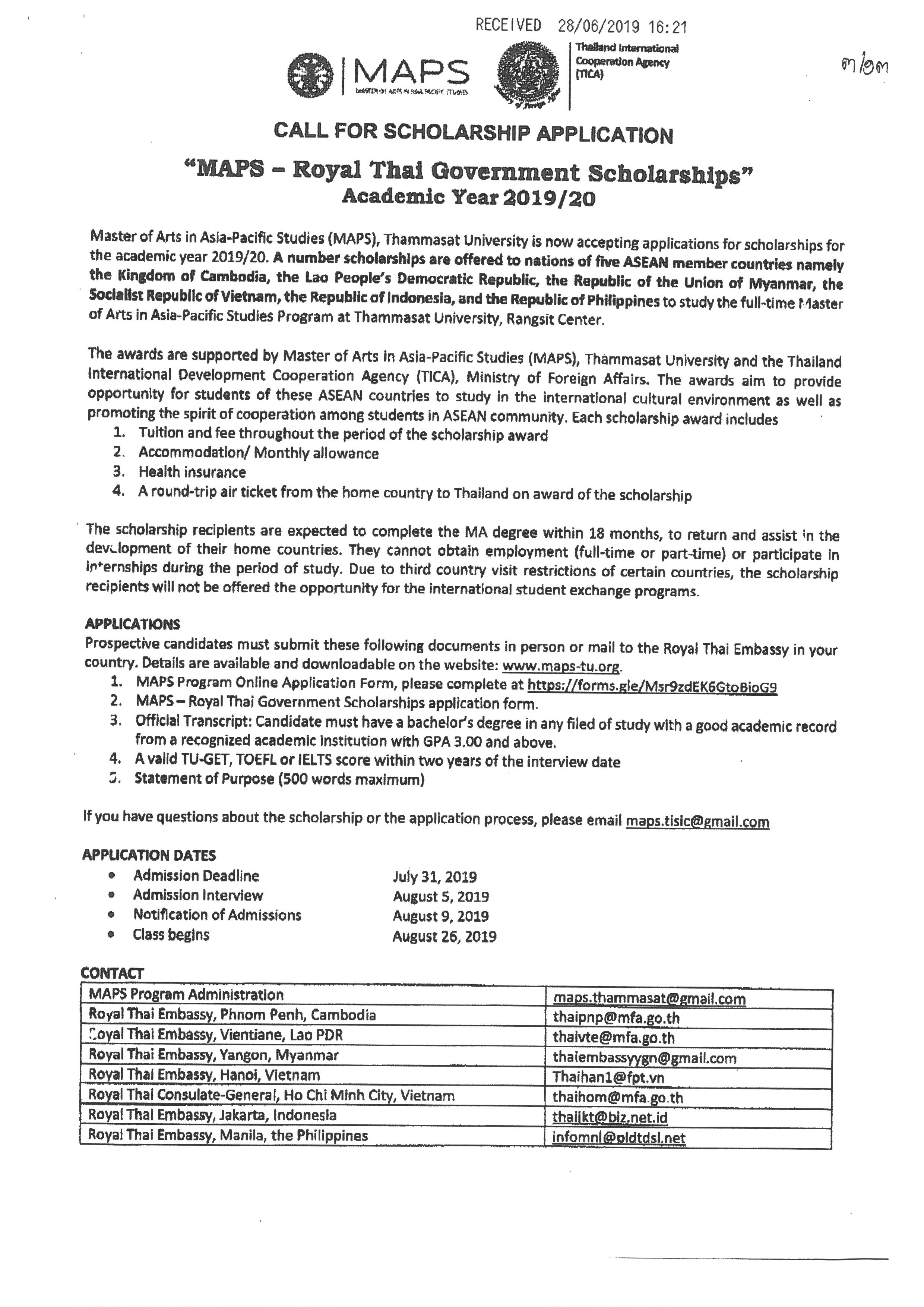 MAPS - Royal Thai Government Scholarships